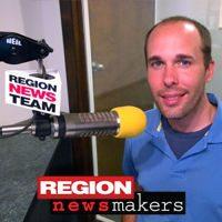 (Derek Frazier, recording a Region Newsmakers interview at Adams Radio Group Valparaiso studios)
